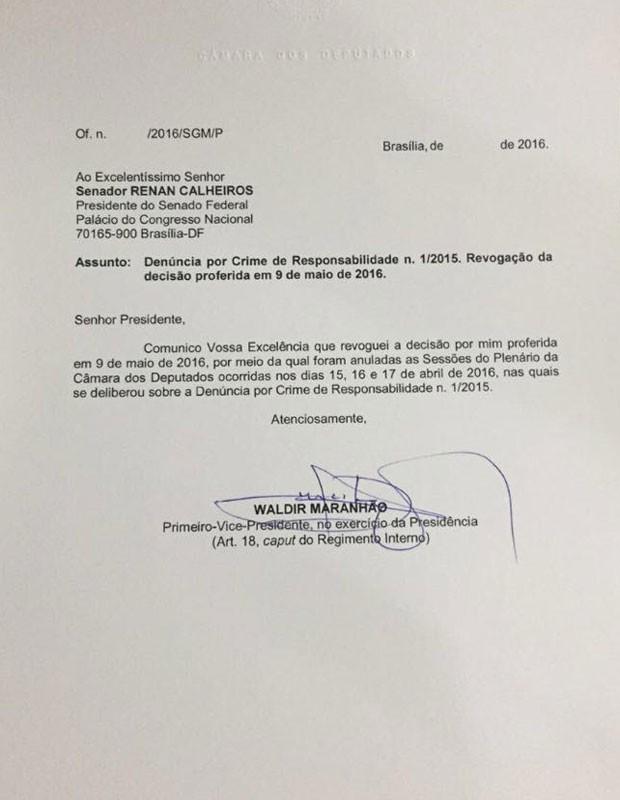REVOGADO Presidente interino da Cmara revoga sua prpria deciso