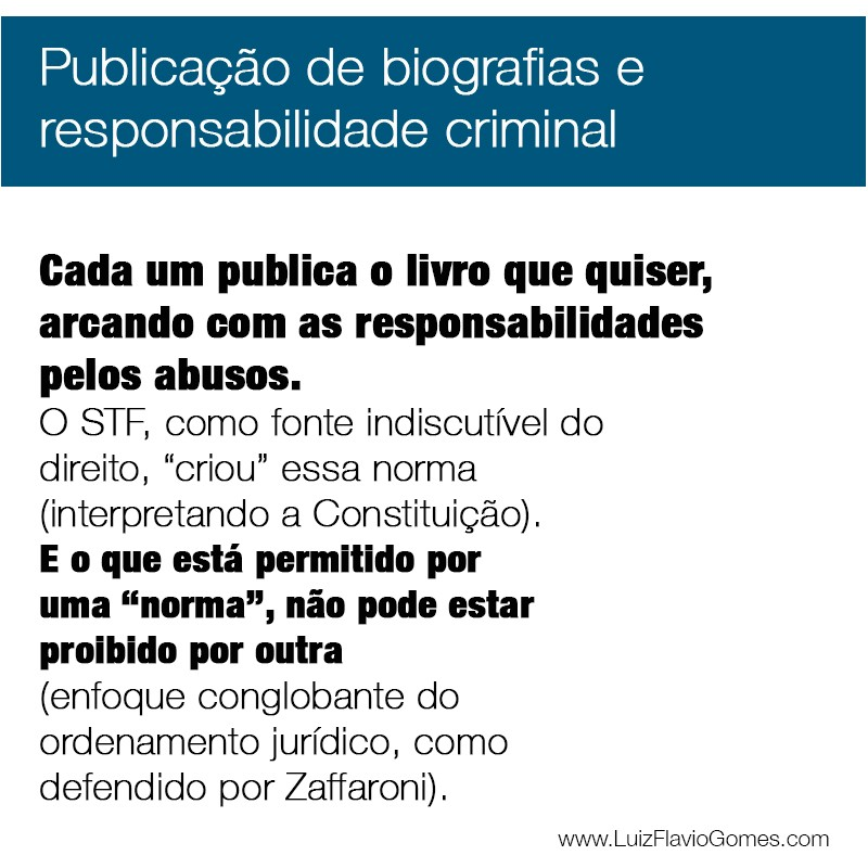 Publicao de biografias e responsabilidade criminal