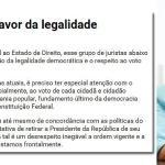 Juristas lançam manifesto a favor da legalidade