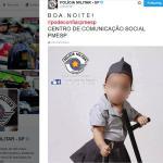 Bebê com algema e cassetete em post da PM gera polêmica em rede social