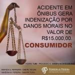Acidente em ônibus gera indenização por danos morais no valor de R$15.000,00