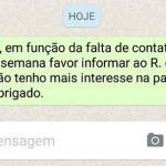 Mensagem de WhatsApp serve como prova de rescisão de contrato