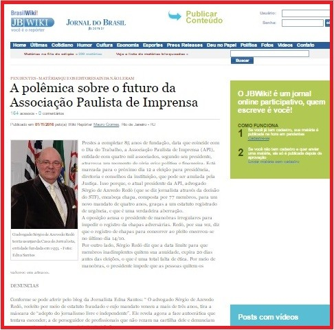 Denncias de corrupo na APIdestaques na imprensa nacional