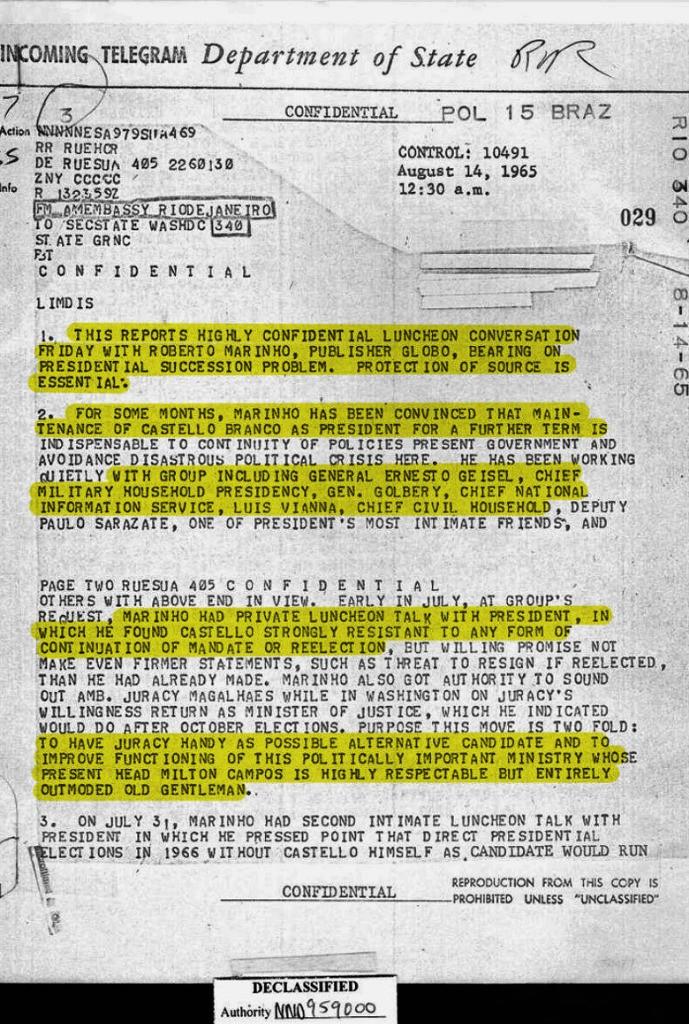 Documentos dizem que Roberto Marinho Rede Globo foi principal articulador da Ditadura Militar