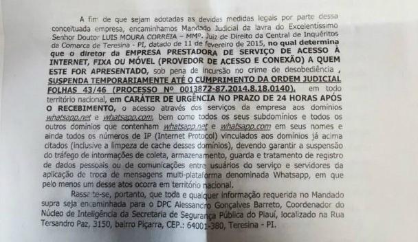 Juiz do Piau manda tirar Whatsapp do ar no pas inteiro