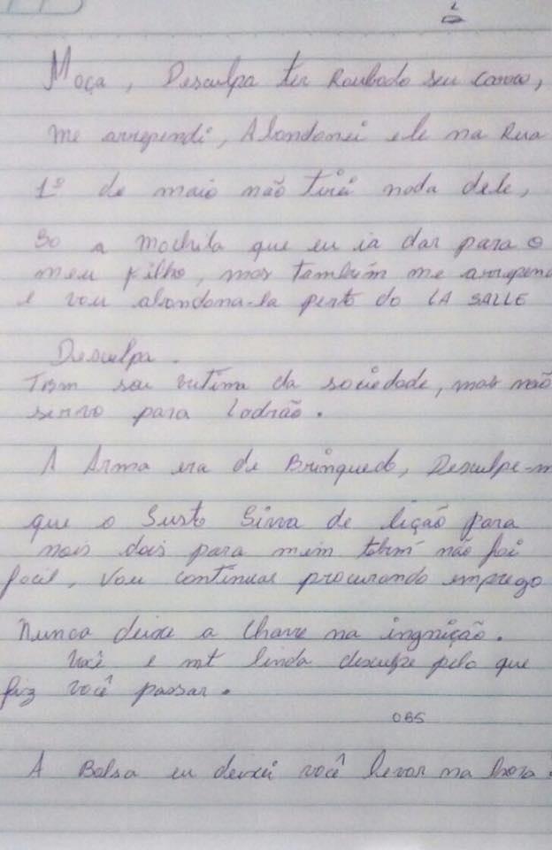 Arrependido ladro devolve veculo e escreve pedido de desculpas vtima