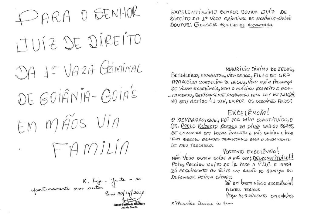 Em carta endereada a juiz preso pede que advogado seja desconstitudo
