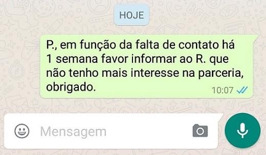 Mensagem de WhatsApp serve como prova de resciso de contrato