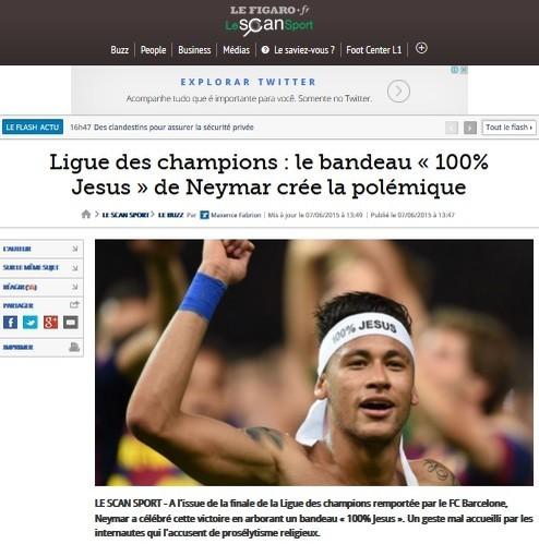 Le Figaro diz que faixa de Neymar 100 Jesus foi vista como proselitismo por torcedores
